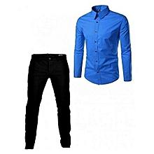 28e941cd608de Ensemble Chemise + Pantalon Responsable Pour Les Hommes - Bleu/Noir