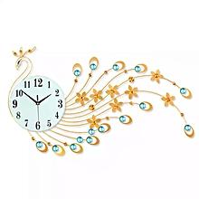 grande horloge murale paon design moderne - doré