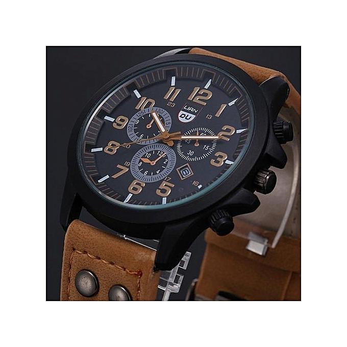 4fc6d5dcc46e2 McyKcy Montre Etanche A Quartz Bracelet En Cuir Pour Homme - Marron ...