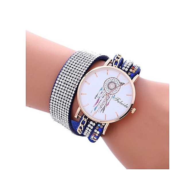 FULAIDA Africashop Watch Fulaida-Fashion Wind Chimes Diamond Leather Bracelet Lady Womans Wrist Watch -Blue au Côte d'Ivoire à prix pas cher  | Promotion  Anniversaire