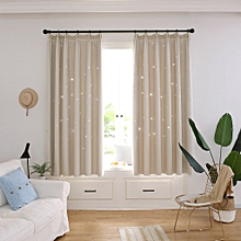 jiahsyc store starry sky sheer curtain tulle window treatment voile drape valance double-deck-beige