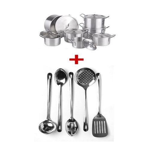 no brand jeux de casserole aluminium 7 pi ces inox lot de 5 ustensiles louche spatule. Black Bedroom Furniture Sets. Home Design Ideas