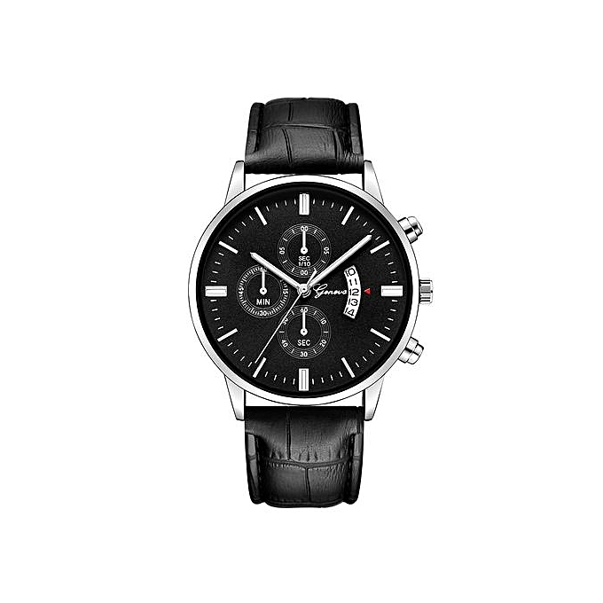 Geneva Geneva  Africashop  Men's Watch  Mens Watch Date Stainless Steel Leather Analog Alloy Quartz Wrist Watch-Black au Côte d'Ivoire à prix pas cher  | Promotion  Anniversaire