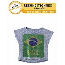 spécial coupe du monde 2014, t-shirt manches courtes imprimé - bleu - article sale