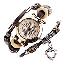 bracelet-montre a quartz stylé - marron