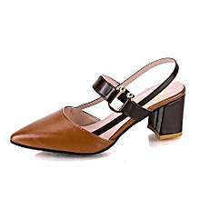 women big size leather sandals thick heel single shoes-brown