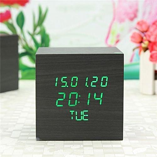 UNIVERSAL Wooden Wood Square LED Digital Desk Alarm Clock Date/Time ...