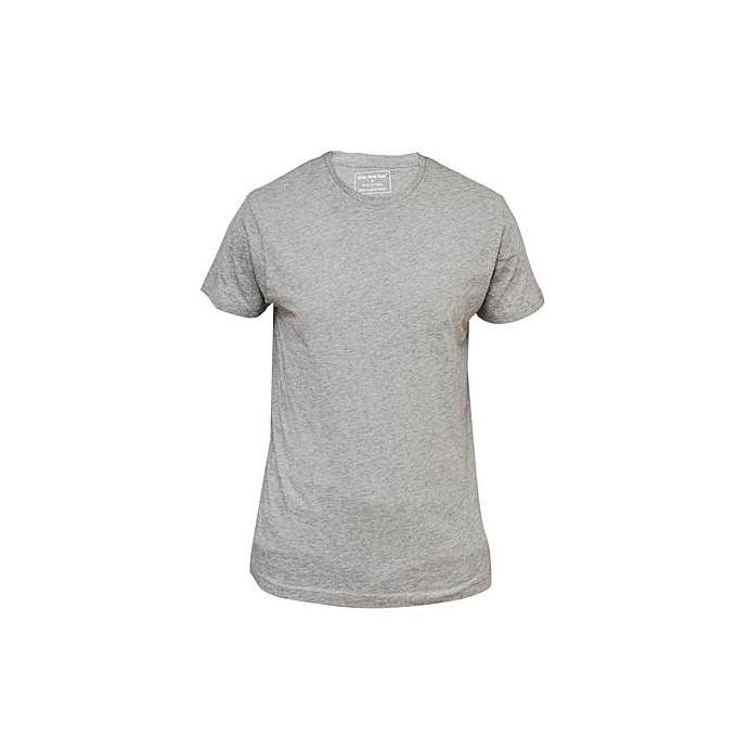 93434ac7a86 Chase Deer T-Shirt Uni Coton Manches Courtes - Gris - Prix pas cher ...