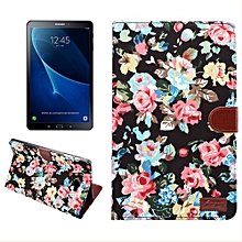 for samsung galaxy tab a 10.1 / t580 flower pattern cloth surface horizontal flip leather case with card slots and holder and wallet and photo frame(black)