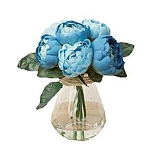 fantynes 1 bouquet 6 heads artificial peony silk flower leaf home wedding party decor