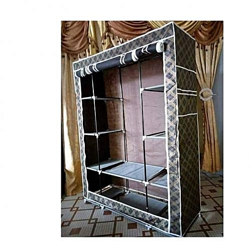 Armoire penderie mobile d montable housse marron for Housse telephone mobile