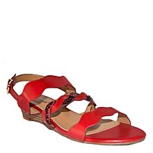 sandales compensées en simili cuir - rouge