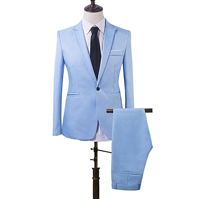 generic ensemble costume slim de deux pi ces pour homme bleu ciel au c te d 39 ivoire prix pas. Black Bedroom Furniture Sets. Home Design Ideas