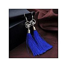 bohemian women fashion woolen tassels earring gorgeous hoop earrings jewelry —blue