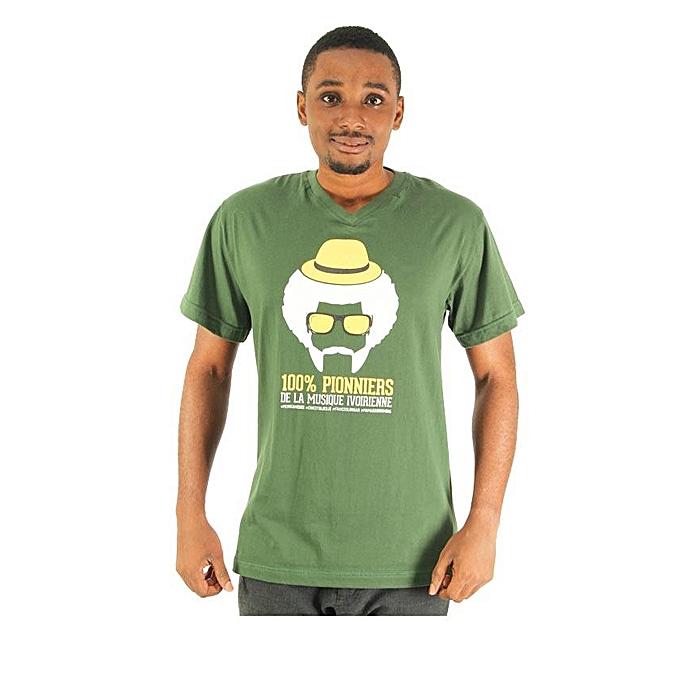 2df55ef1944fd T-shirt Manches Courtes Col V Imprimé 100% Pionniers - Vert Blanc  ...