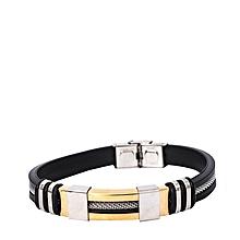2b734d66fb6 Bracelet Homme Simple - Noir Gris Or