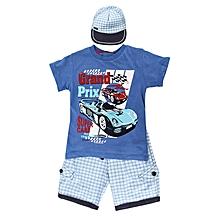 ensemble short + t-shirt + casquette pour enfant - bleu