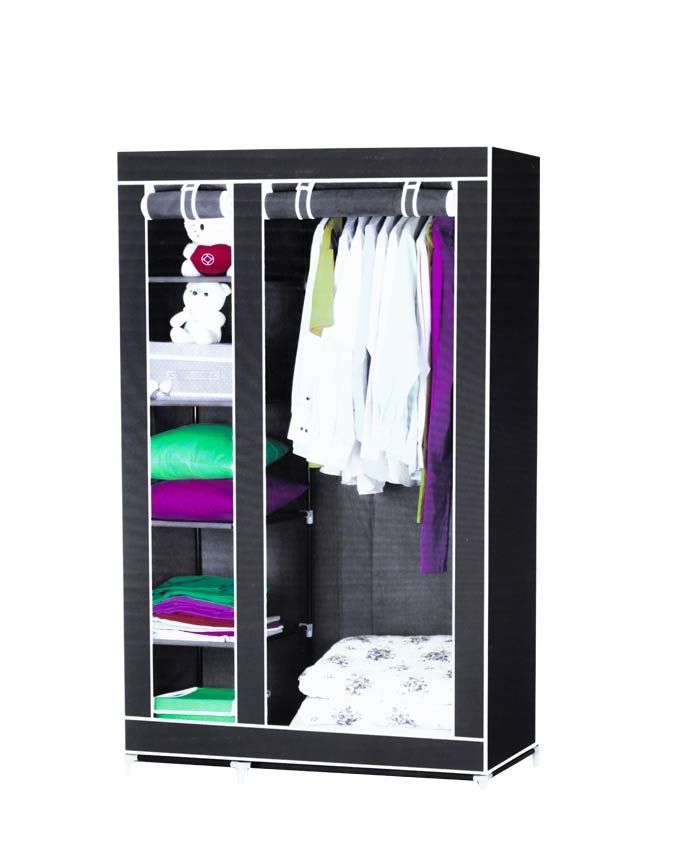 Wardrobe armoire penderie mobile housse bleu nuit acheter en ligne jumi - Armoire penderie housse ...