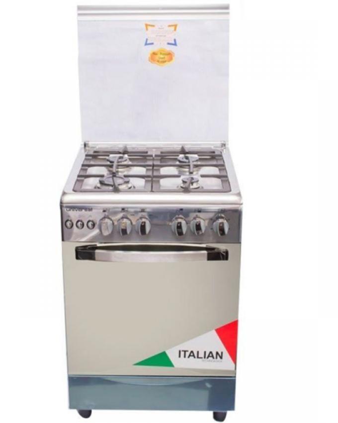 Universal cuisini re gaz universal 4 feux 5504 i inox 50 x 55 cm gar - Gaziniere 5 feux four gaz ...