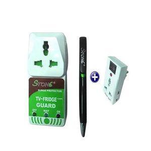 Stabilisateur Protecteur Tv,Refrigerateur + Adaptateur De Prise 3en 1- Blanc/Vert