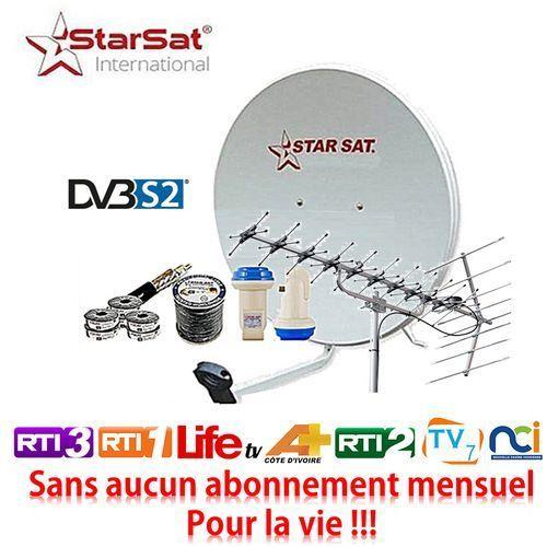 product_image_name-Star Sat-Kit Satellite TNT( Parabole + Câble + LNB + Antenne TNT ) - Pour Télévision Avec Décodeur Intégré-1