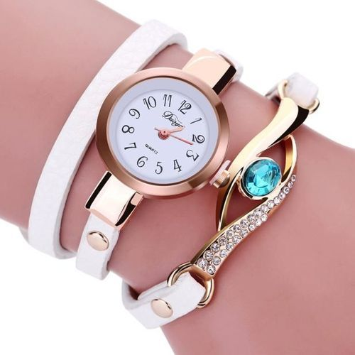product_image_name-Fashion-Montre A Quartz Femme - Bracelet En Cuir - Blanc-1