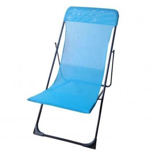leroy merlin chaise longue pliante pour plage et jardin bleu garantie 1 an prix pas cher