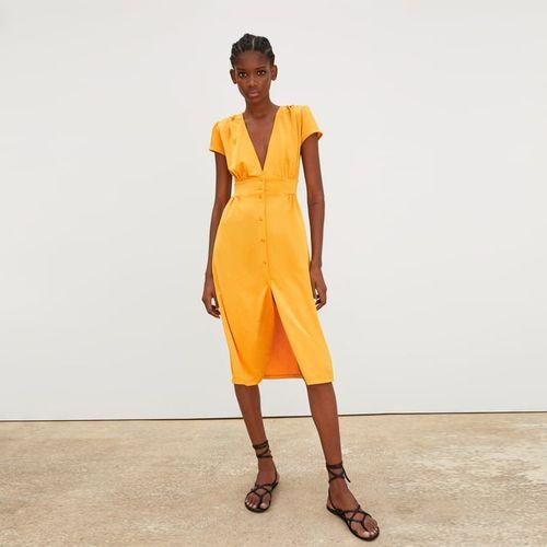 Zara Robe D Ete Sunshine Decolte Plongeant A Boutons Jaune Prix Pas Cher Jumia Ci