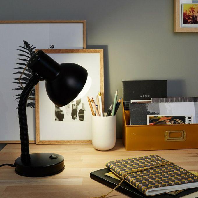 Lampe De Bureau E27 à Poser Buro Noir Garantie 2 Ans Chevet