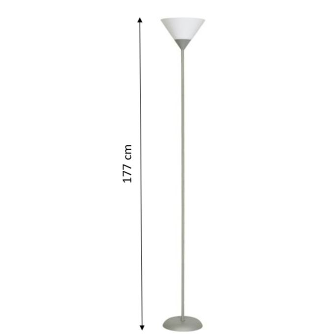 Lampadaire Basic 177 Cm 60 W Grisblanc Fonctionne Avec 1 Ampoule E27 Garantie 1 An