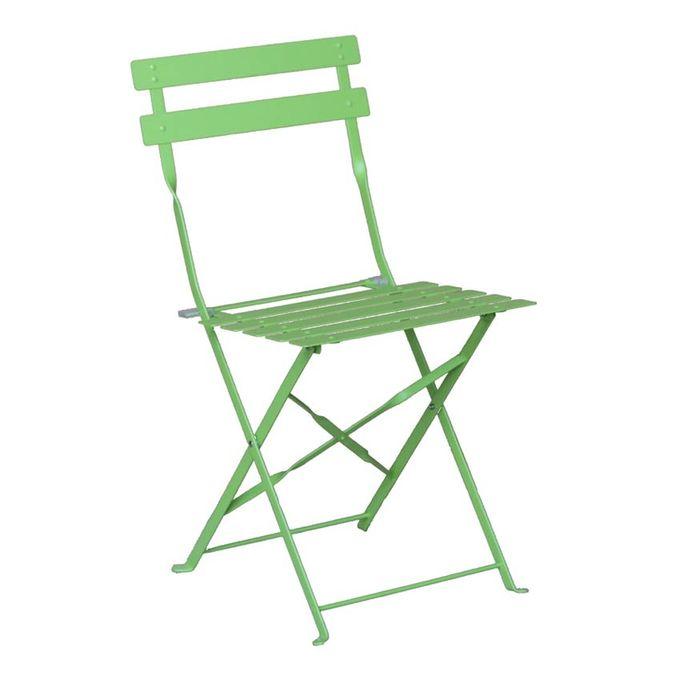 Chaise Pliante De Jardin Métal Acier à Lattes Vert Flore Garantie 1 An