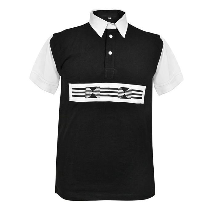 PRAHO Polo Homme Manches Courtes - Noir/Blanc
