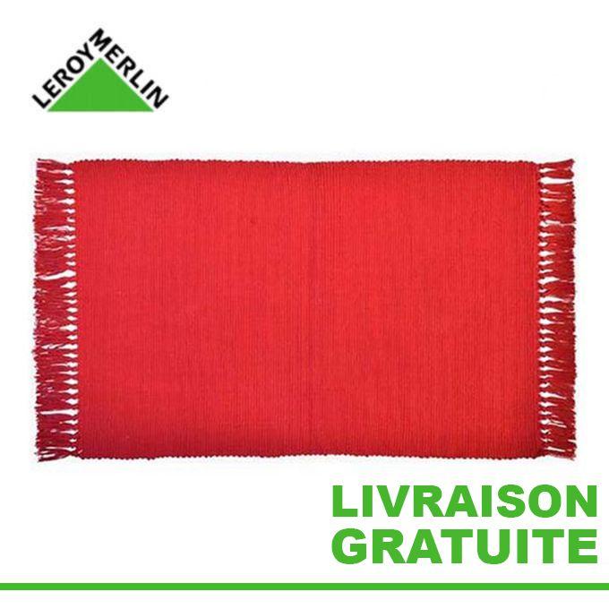 Tapis à Franges Rouge 50x80 Cm 100 Coton Descente De Lit Garantie 1 An