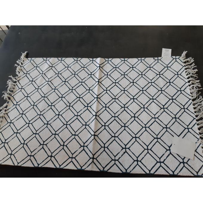 Tapis Bleu Blanc 60x90 Cm 100 Coton Descente De Lit Garantie 1 An