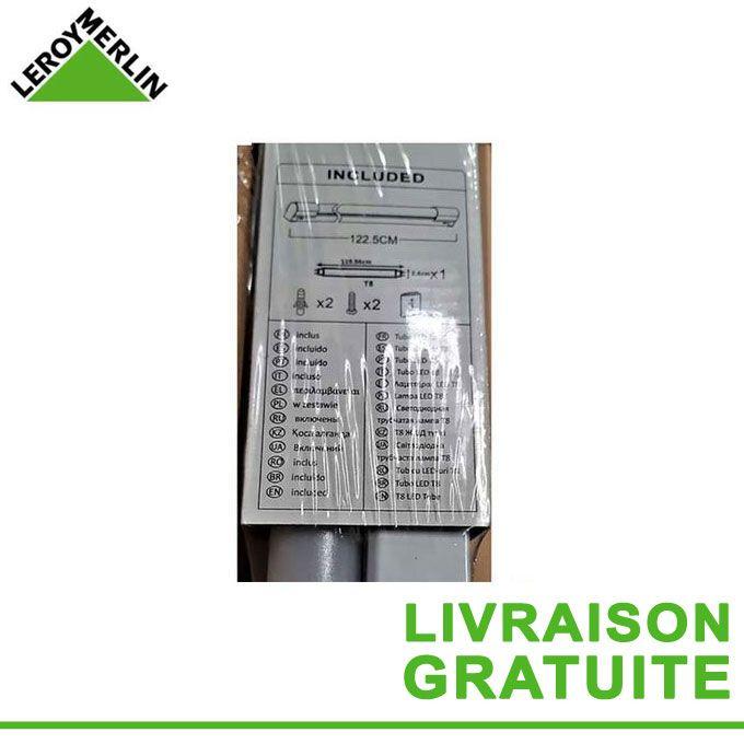 Réglette Néon Led 18w T8 Blanc Froid Dim 1225 X 32 X 54 Cm Tube Fluo G13 Fourni