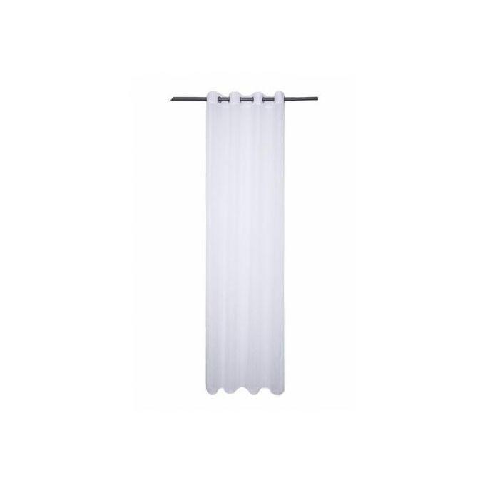 Rideau Voilage Rayures Blanc Lolita Dim 140x240cm Finition Anneaux Lavable à 30