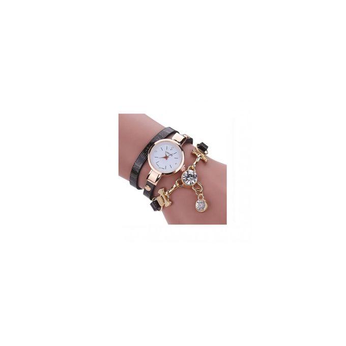 Montre Bracelet A Quartz En Simili Cuir Pour Femme Beige