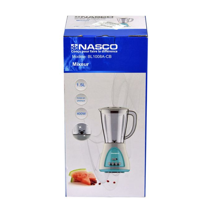 product_image_name-Nasco-Blender bol Incassable - BL1008A-CB - 1.5 Litre - 400 W - Blanc/Vert - 3 mois de garantie-2