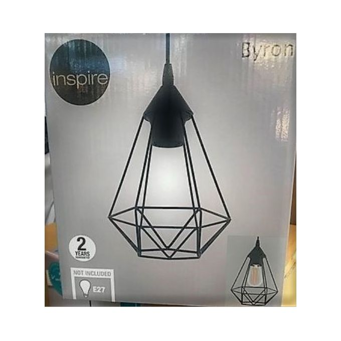 Suspension Design Industriel Byron Metal Noir Diam 18cm Culot E27 Garantie 5 Ans