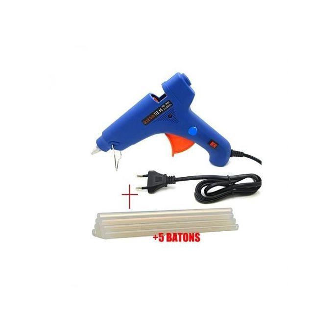Pistolet à Colle Chaude 20w Fourni Avec 5 Bâtons De Colle Bleu