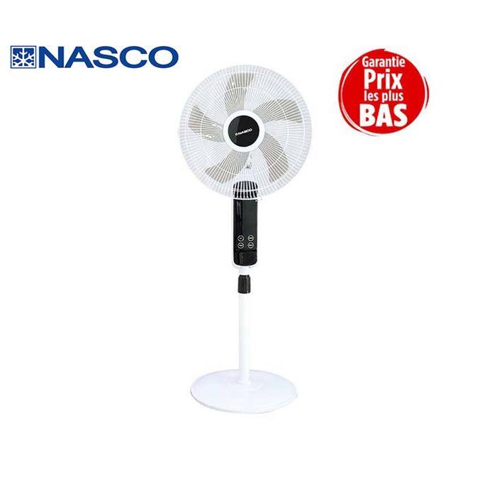 product_image_name-Nasco-Ventilateur à Pied - FS40-88R - 16'' - 55W - 3 Vitesses - 5 Hélices Avec Télécommande - Noir/Blanc-1