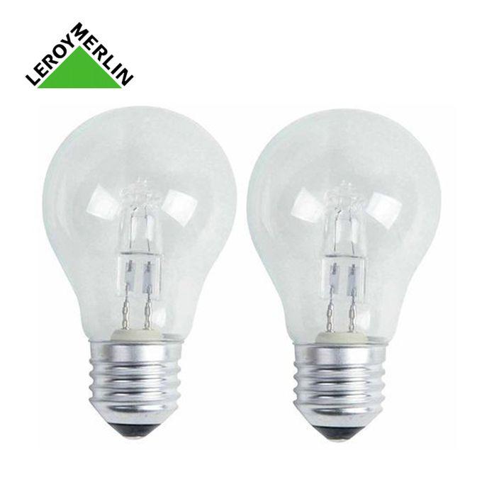 Lot De 2 Ampoules E27 Standard Halogènes 46w 700lm équiv 60w 2700k à Vis