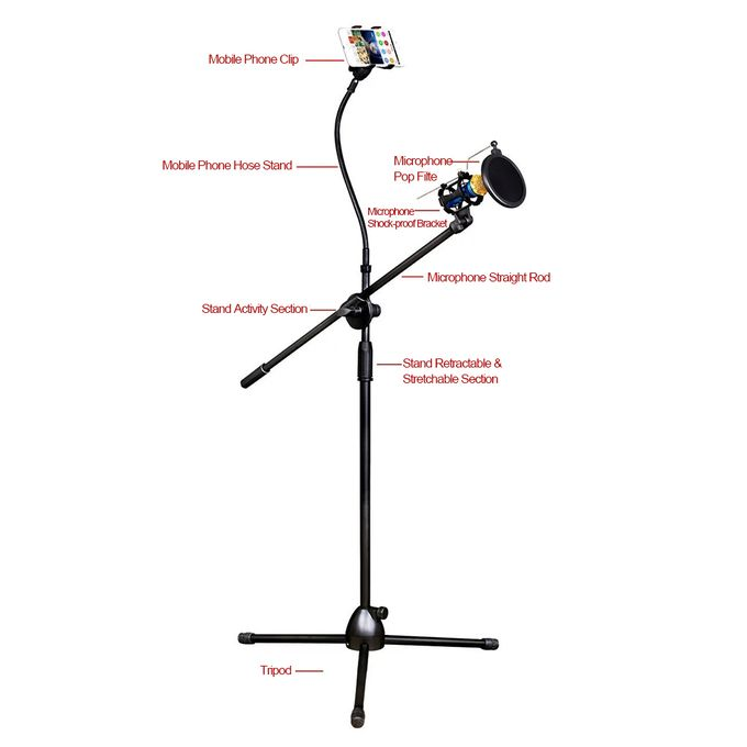 Microphone Tripod Stand Bracket Supporter With Shock Proof