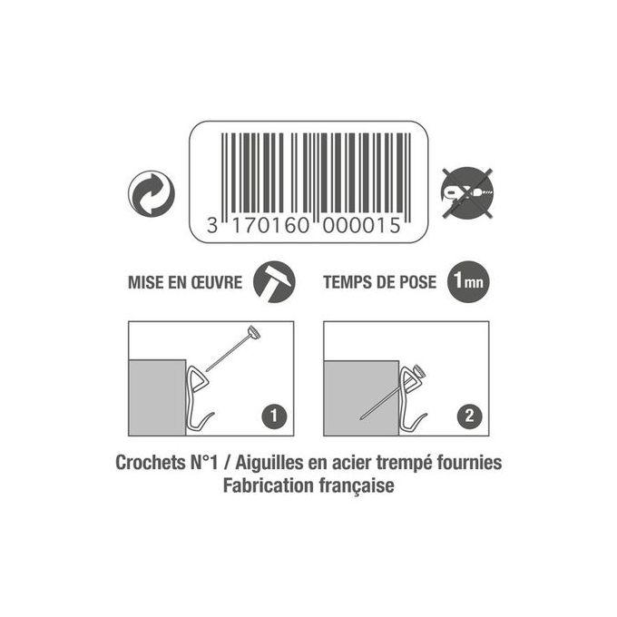 Lot 10 Crochets Hauteur 25mm Aiguilles Pour Tableaux Et Cadres Légers Support Mural