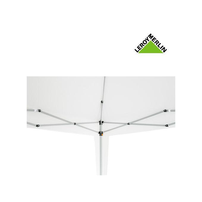 Bâche Chapiteau Tonnelle 2 X 3 M En Pe Blanc Armature Blanc Gazebo Garantie 1 An