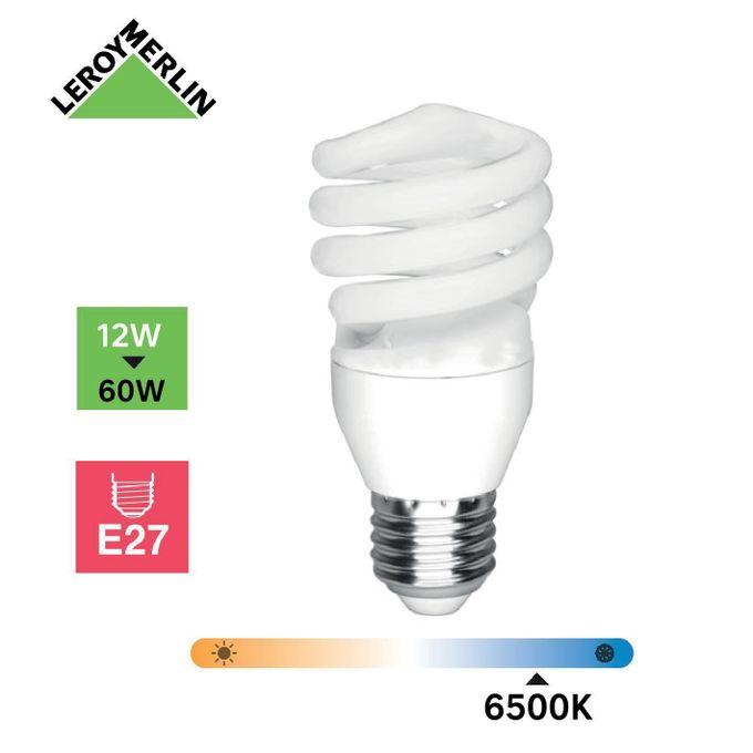 Ampoule Spirale Fluo à Vis E27 12w équiv 50w 1398lm 2700k
