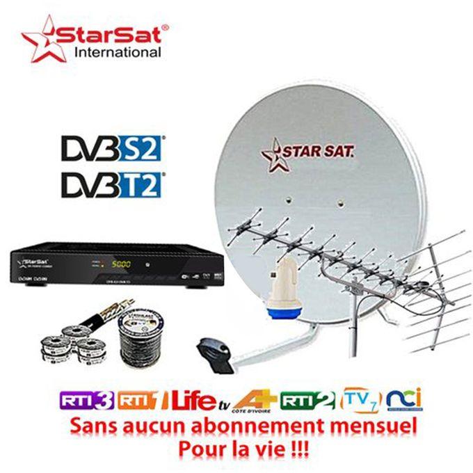 Kit Satellite Tnt Décodeur Tnt Parabole Antenne Tnt Lnb Tête De Satellite Câble Tv Garantie 24 Mois