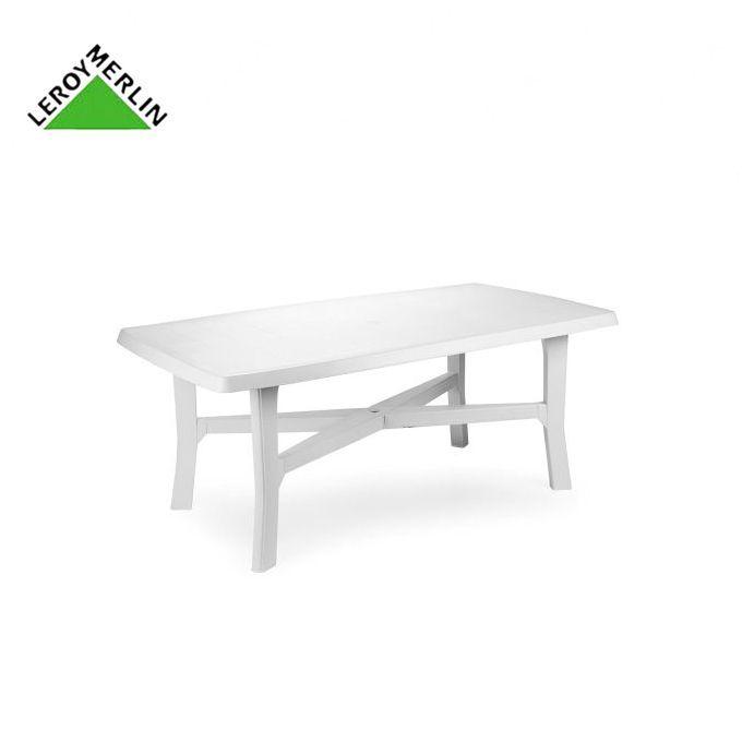 Table De Jardin Blanche Rectangulaire En Plastique, Résistante - SENNA -  180X100cm - Garantie 1 An