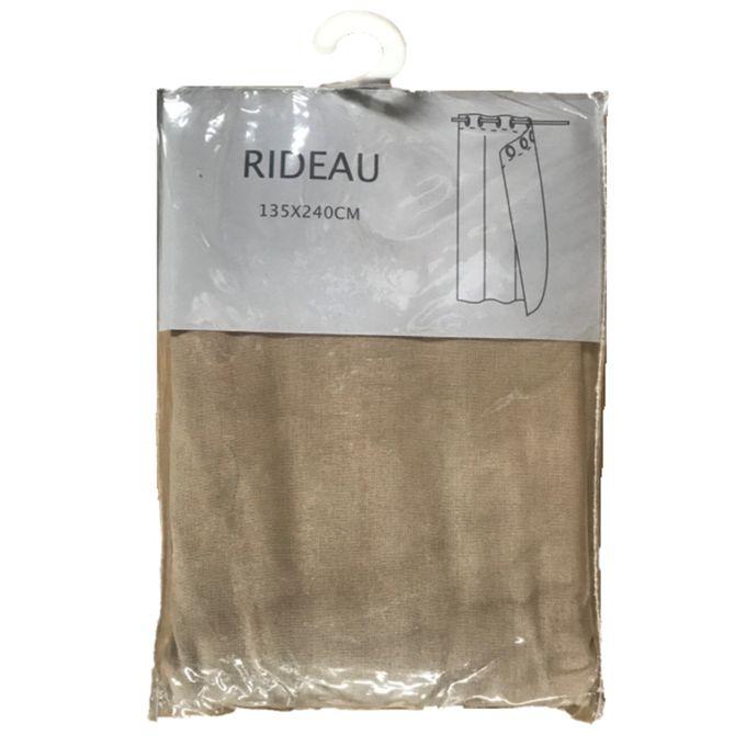 Rideau Tamisant Polylin Taupe Larg 140 X Haut 250 Cm Finition Anneaux Lavable à 30