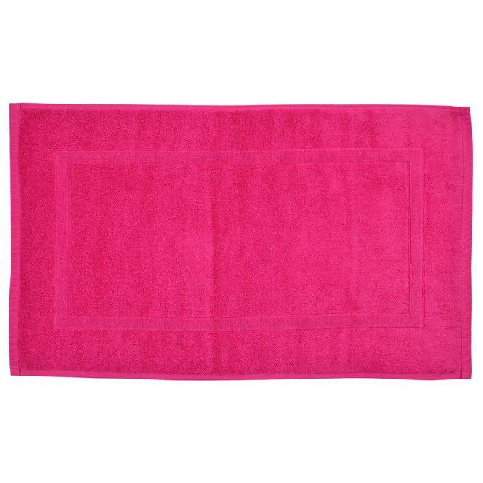 Tapis De Bain Rose Fuschia - 80X50 Cm - TERRY - 100% Coton - Garantie 1 An